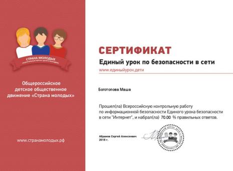 Сертификат Боготопова Маша