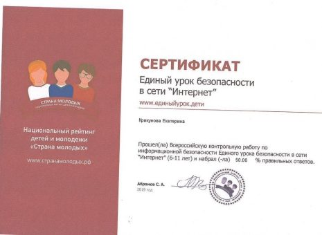 Сертификат Крикуновой Екатерины