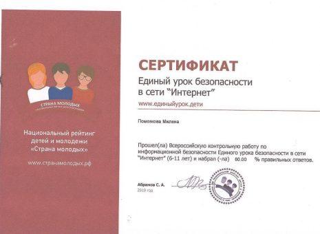Сертификат Помазковой Милены